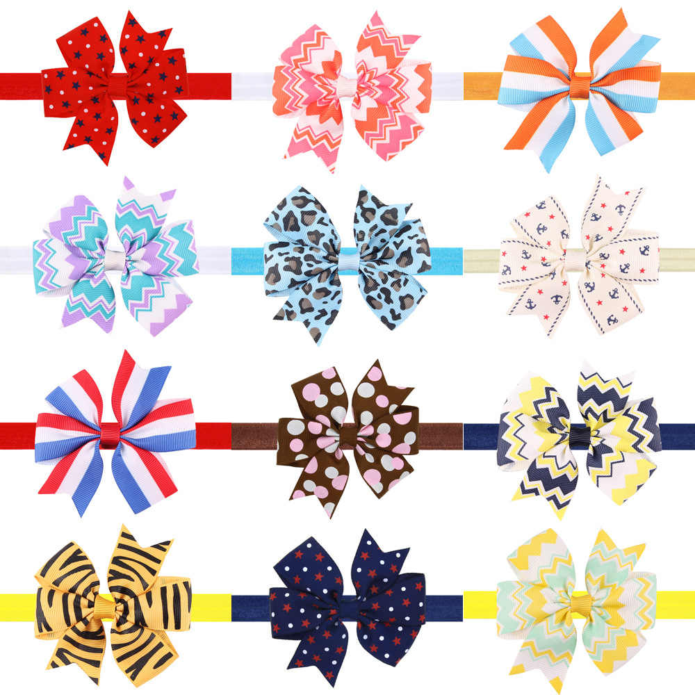 1 Piece MAYA STEPAN Printing Bow Tie Hair Head Band Children Girls Headdress Baby Newborn Hair Rope Headband Headwear Headwrap