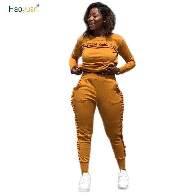 e2b28efeb1c80 HAOYUAN Plus Size Casual Two Piece Set Autumn Knit Tops+Ruffles Pants Sweat  Suit 2 Piece Outfits Women Clothing Tracksuit Sets