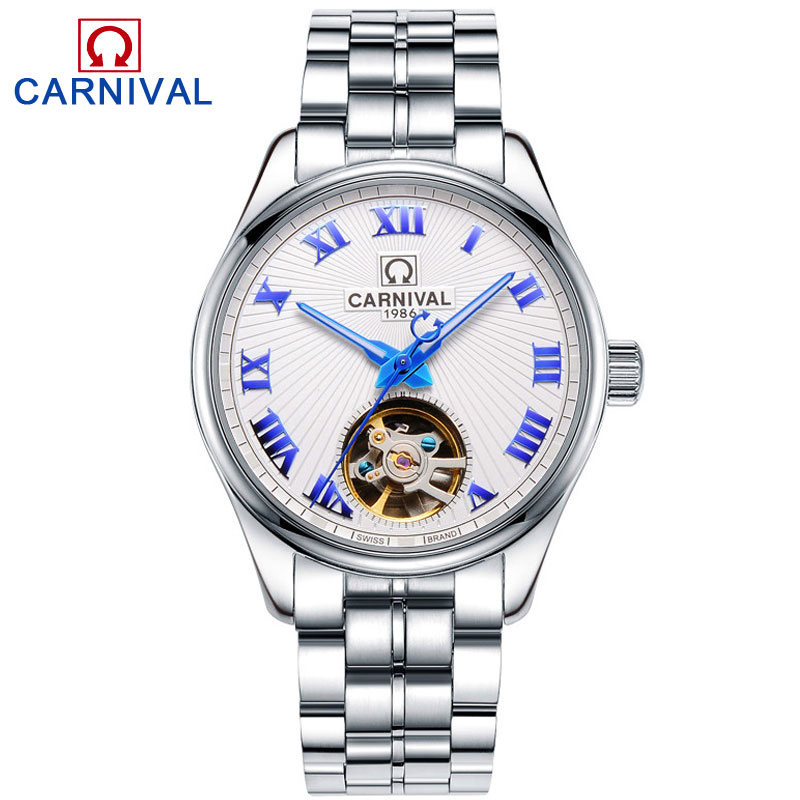 Carnival Watch Men Hollow Automatic Mechanical Luminous Silver Stainless Steel Waterproof multifunction Watches цена и фото
