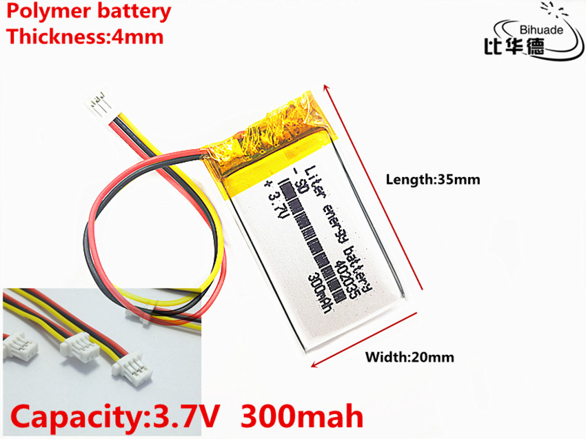 Good Qulity JST PH 1.0mm 3 pin 3.7V,300mAH <font><b>402035</b></font> Polymer lithium ion / Li-ion <font><b>battery</b></font> for tablet pc BANK,GPS,mp3,mp4 image
