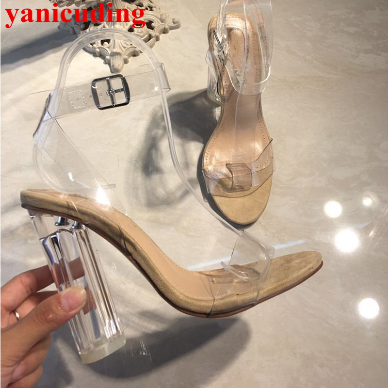 Open Toe Women Sandals Transparent High Heels Buckle Design Gladiator Sandales Femme Brand Runway Star Stage Fashion Party Shoes brand big size 42 43 beach shoes fashion transparent pvc butterfly flowers open toe wedges heels sandals women party dress pump