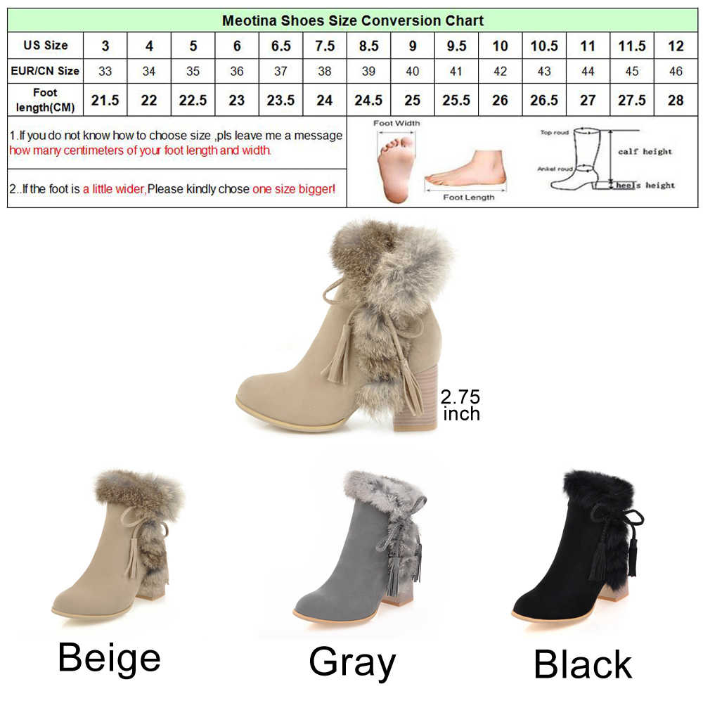 74b5e364263 ... Meotina Women Ankle Boots Winter High Heels Fur Bow Thick Heels Short  Boots Zipper Ladies Autumn