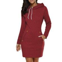 ФОТО autumn dresses women zipper hoodie dress pocket long sleeve mini dress casual hooded dress women clothing dress