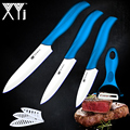Ceramic knife 3 paring 4 utility 5 slicing knife with one blue handle + white balde peeler cooking tools kitchen knives set