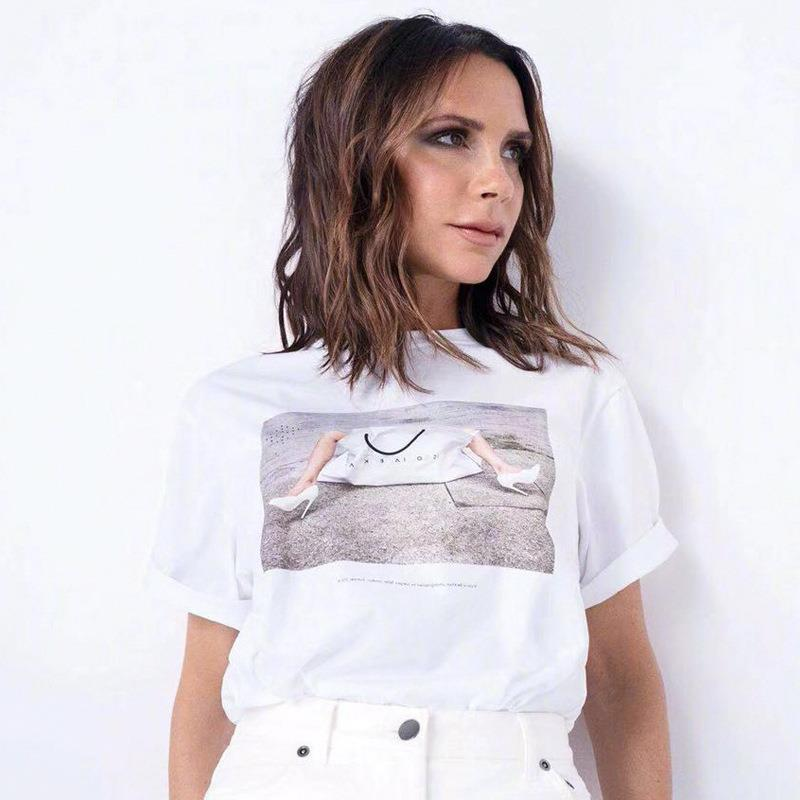 new product cf87d 00155 US $21.67 31% OFF|Luxury Designer Brand Top for Women Victoria Beckham 10th  Anniversary Handbag Printed Casual Loose T Shirt White-in T-Shirts from ...