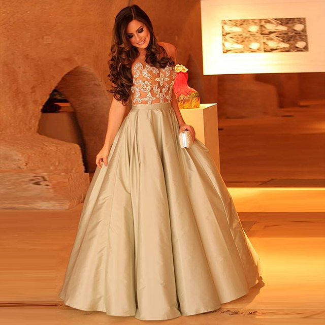 Pretty Nice Crystal Champagne Formal Evening Dress Long Women Gowns ...