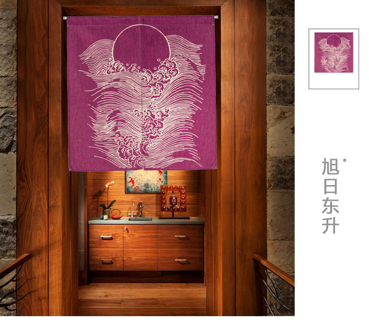 Printed cloth curtain country classical ethical wind partition curtain and Chinese style porch hang Japanese kitchen decoration
