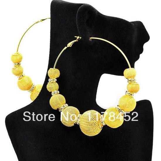 Basketball Wives Large Mesh Ball Beads Hoop Earrings w/ Crystal Spacer Beads