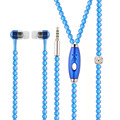 Luxury Blue/Rose Bling Diamond earphone Pearl Necklace Chain In-Ear Earphone Stereo With Mic For iphone 6 6s samsung Microphone