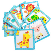 Cartoon Wooden Magnetic Jigsaw Puzzles Educational Developmental Toy For Kids Children 3D Puzzle