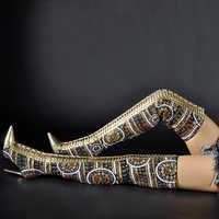Sinsaut zapatos de mujer invierno verano Zapatos con tela de lentejuelas sobre los zapatos de tacón altos hasta la rodilla botas Cruz atadas International Show botas