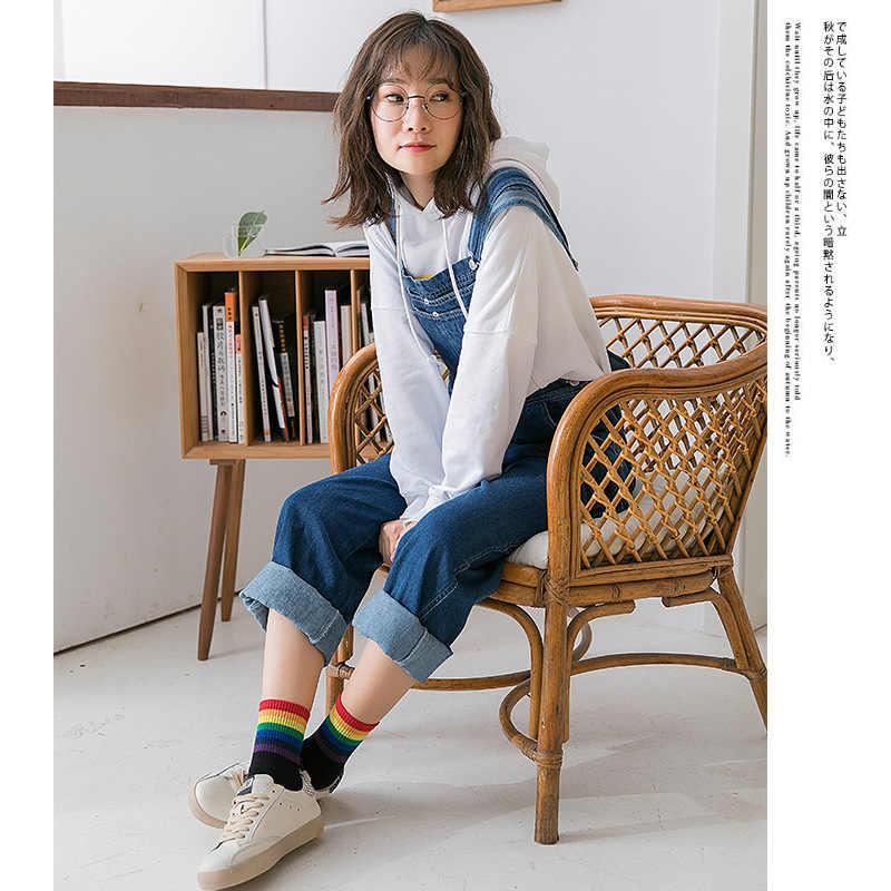 Lgbt 스트라이프 패션 한국어 streetwear 여성 레인보우 양말 따뜻한 재미 캔디 화이트 블랙 짧은 겨울 코튼 네온 해피 양말