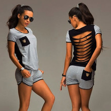 Summer Women Clothing Set Back Strap Hollow Out Top+ Shorts Outfit Workout Suit Fitness