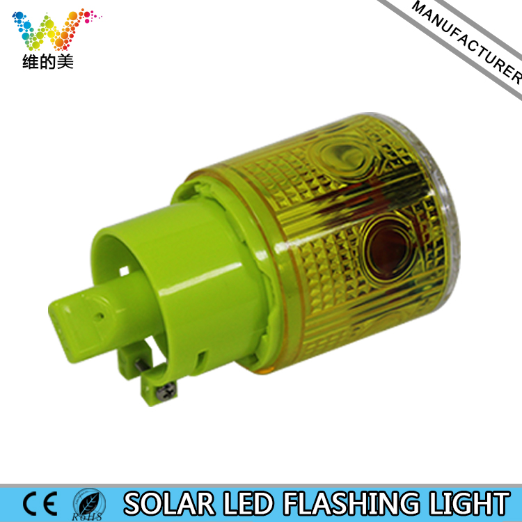 WDM ILED Solar Powered Easy Installment Warning Flashing Beacon Strobe Green Light