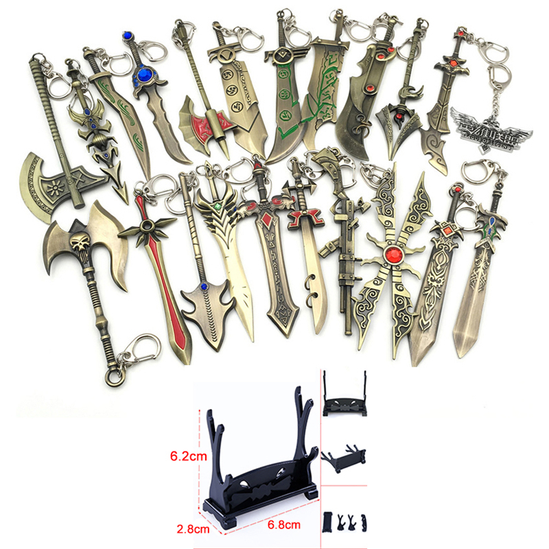 LOL Anime Metal Keychain Jinx Weapon Keychain Action Figures Toys Model Display Stand Knife Holder Zinc Alloy Key Pendent Toys