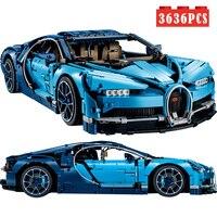 2018 DIY 38036 Creator Compatible Legoingly Technic BugattiED Chiron Technik Series Blocks Chiron Blue Racing Car Bricks Kid Toy