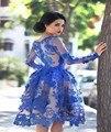 Árabe muçulmano vestido FormalParty vestido azul de manga comprida 3D Floral apliques vestidos Pageant