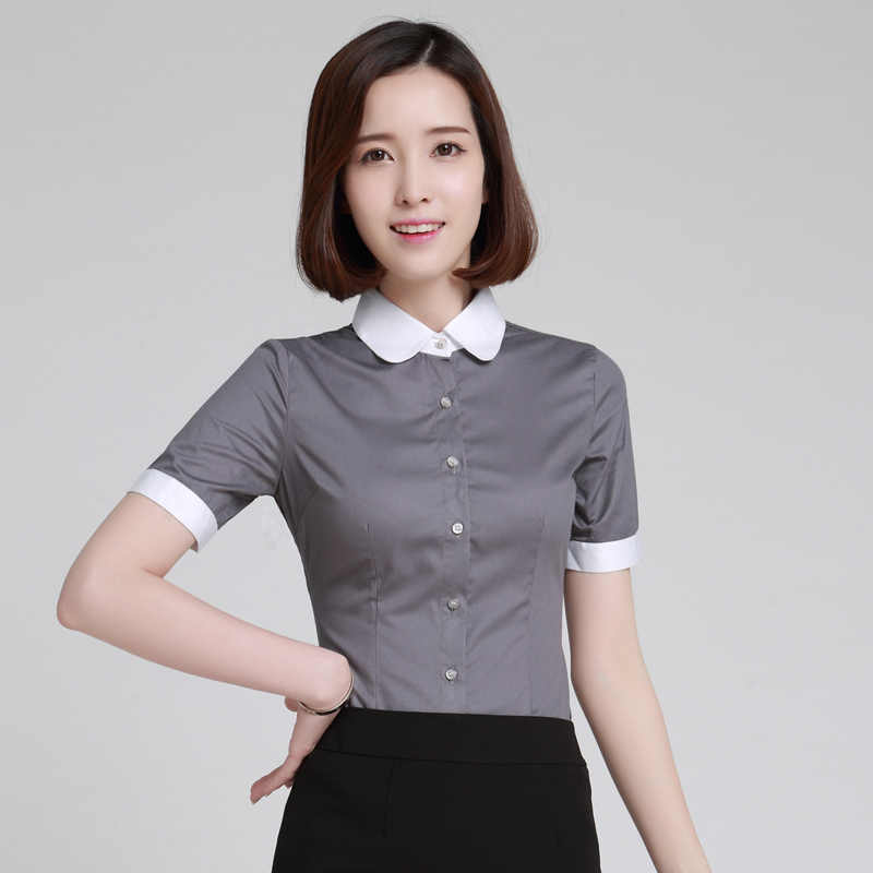 71876066f2e29f Women Blouse New 2019 Stripe Formal Shirt Office Lady Short Sleeve Slim Tops  Peter pan Collar