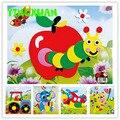 20 diseños/lot diy animal de la historieta 3d de espuma eva pegatina puzzle serie e aprendizaje temprano educación juguetes para niños