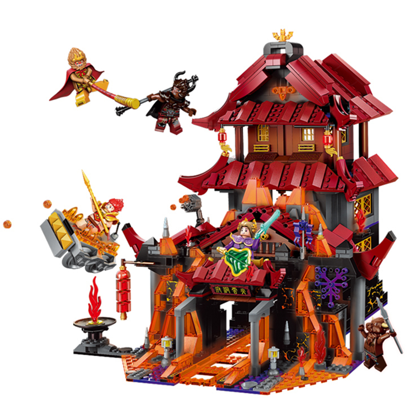 Goku Sun Wukong Temple Of Resurrection Tower Fighting Weapon Building Blocks Set Classic Model Kids Kits Toys Compatible