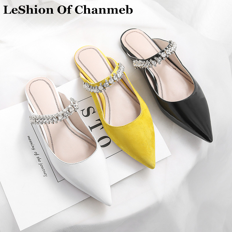 New Top Quality Jewelry Mules Woman Slip Ons Pointed Toe Flats Ladies After Party Diamond Casual Shoes Summer Zapatos Mujer 2019
