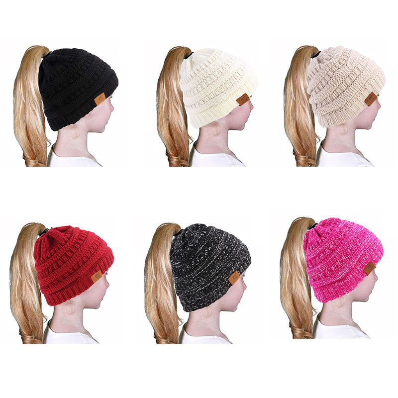 Children Kids Girl Winter Warm   Beanie   Slouchy Hat Stretch Solid Color Crochet Ribbed Knitted Messy Bun Ponytail Holey Cap 3-10T