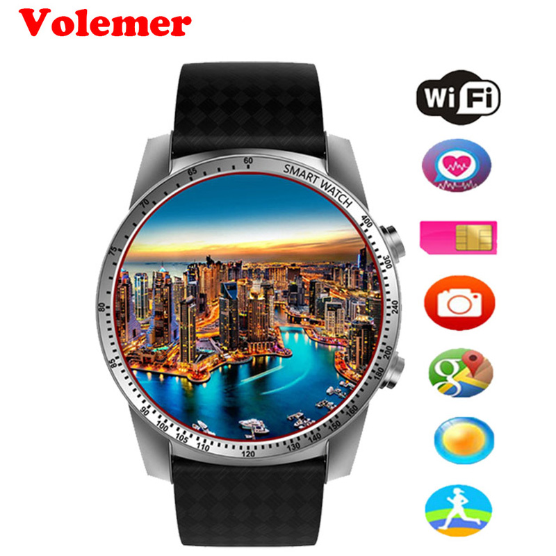 Volemer KW99 Smart Watch Phone MTK6580 3G WIFI GPS Watch Men Heart Rate Monitoring Bluetooth Smartwatch Android Phone PK KW88 no 1 d6 1 63 inch 3g smartwatch phone android 5 1 mtk6580 quad core 1 3ghz 1gb ram gps wifi bluetooth 4 0 heart rate monitoring