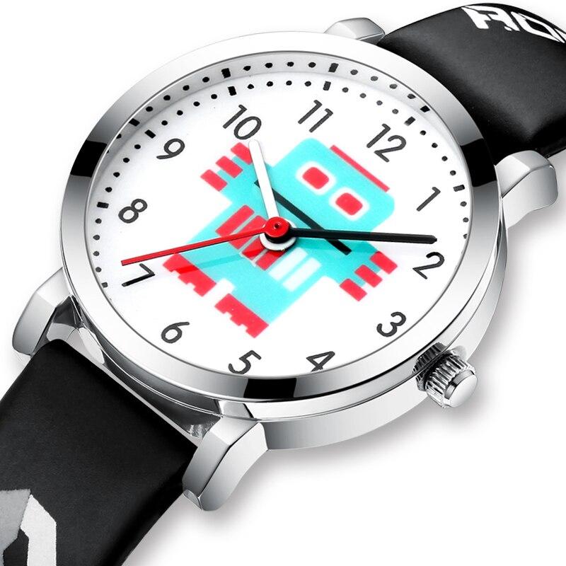 KDM Girl Watch Kid Watches Waterproof Genuine Leather Straps Sport Cartoon Robot Children Watches Cute Wristwatch Clock