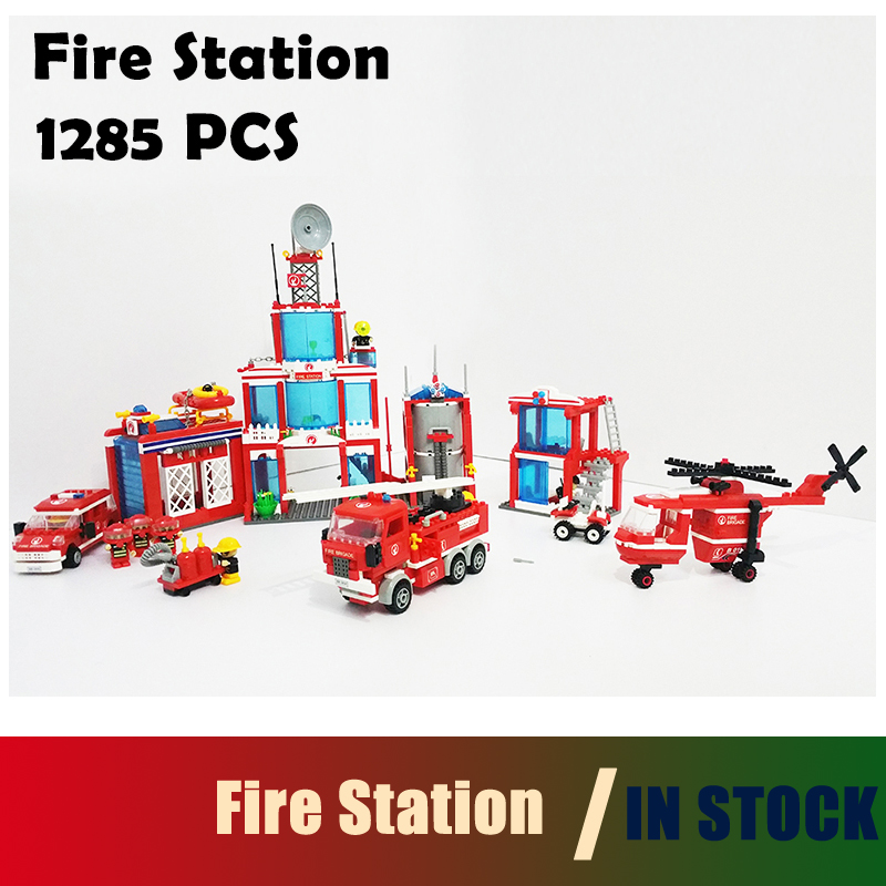 Compatible with lego City Extra Large fire station Model building kits 1285 Pcs 3D blocks Educational  toys hobbies for children цена