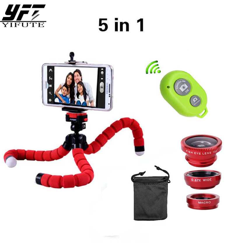 YIFUTE 5in1 Camera Lens Kit Fisheye Fish eye Lens Bluetooth shutter Tripod for iPhone 7 lens 5 6 Phone Holder for Xiaomi 4 Lens