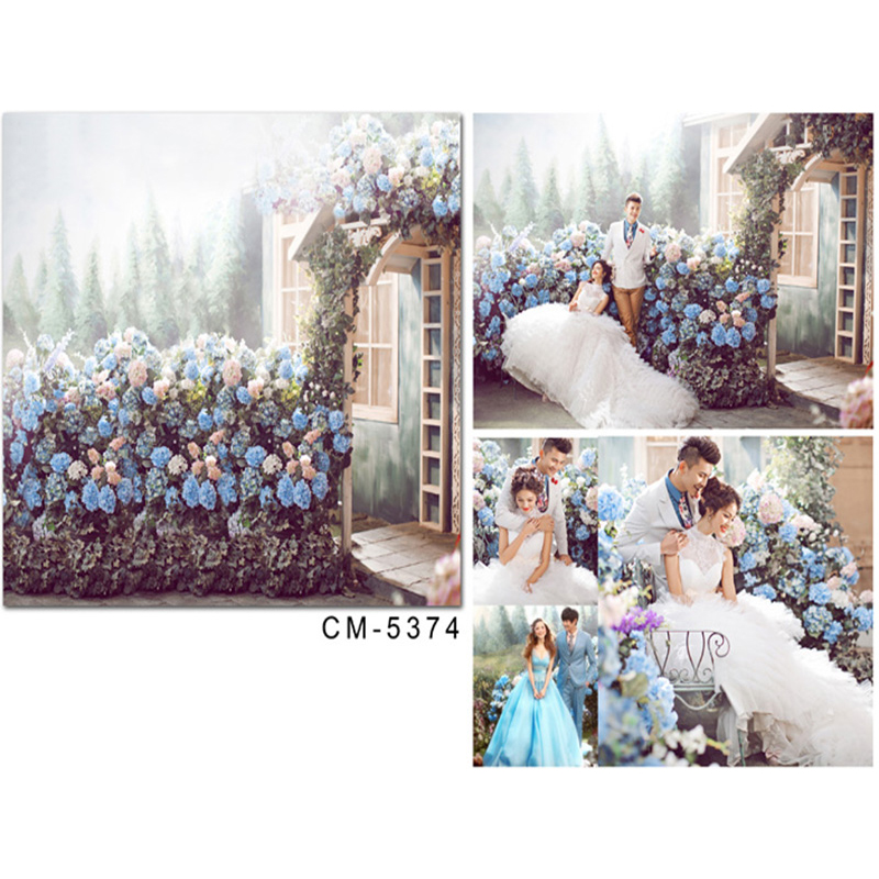 Wedding Photography Background Blue Flower House Photo Booth Backdrops Sun Forest Wedding Background for Photographic Studio wedding photography background photo booth backdrops background for photographic studio balloon fantasy room pink wood floor