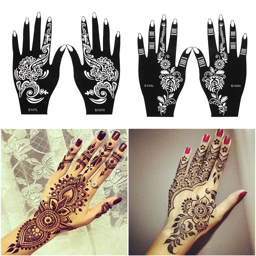 Professional Henna Tattoo: 2Pcs/Set Professional Henna Stencil Temporary Hand Tattoo