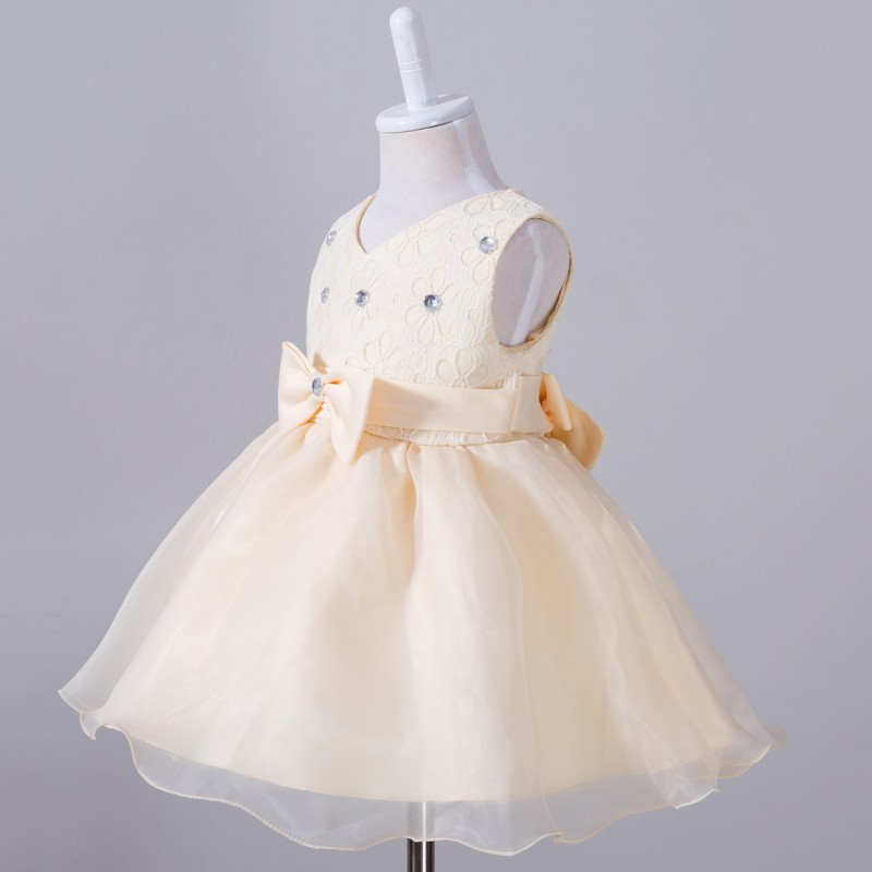 Baby Clothing Toddler Baby Girl Infant Girl Bow Evening Dresses Princess Birthday Party Short Mesh Dress