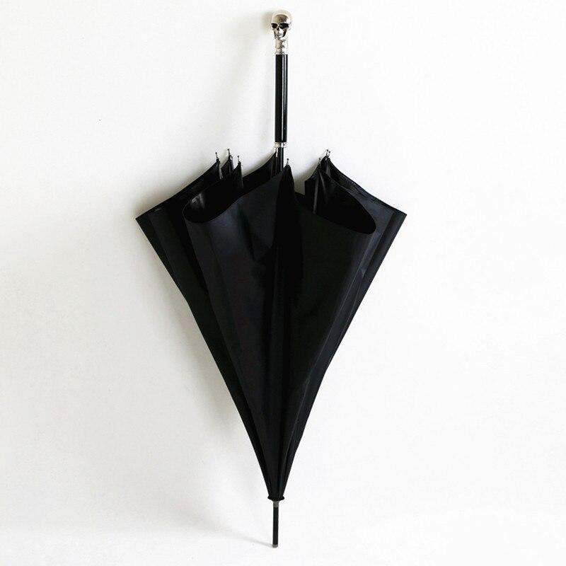 104 cm 5 fois noir revêtement anti-uv> 50 + anti-tonnerre en fiber de verre parapluie crâne squelette fantôme bâton animal parasol