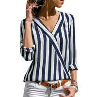 Blusa Mujer camisa a rayas manga larga cuello en V camisetas Casual Tops mujeres \ x27s blusa Mujer Blusas Mujer De Moda 2019