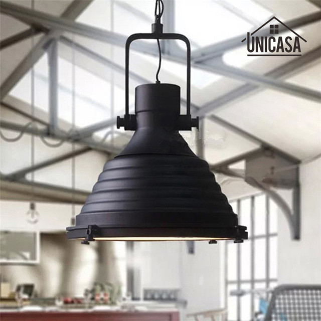 Hotel Hall Wrought Iron Industrial Lights Vintage Black Lighting - Kitchen island led lighting fixtures
