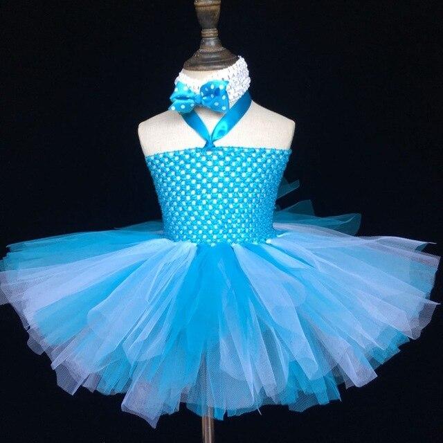 ef2e8ef7d8c61 Filles Turquoise Crochet Tutu robe bébé moelleux 2 couches Tulle robe  Ballet Tutu robe de bal