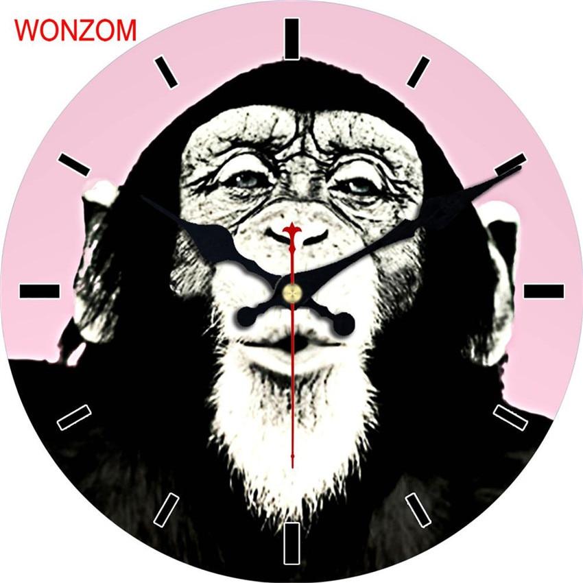 WONZOM Gorilla Wall Clock Animal Design Fish Relogio De Parede Bird Large Silent For Living Room Saat Home Decoration Watch Wall