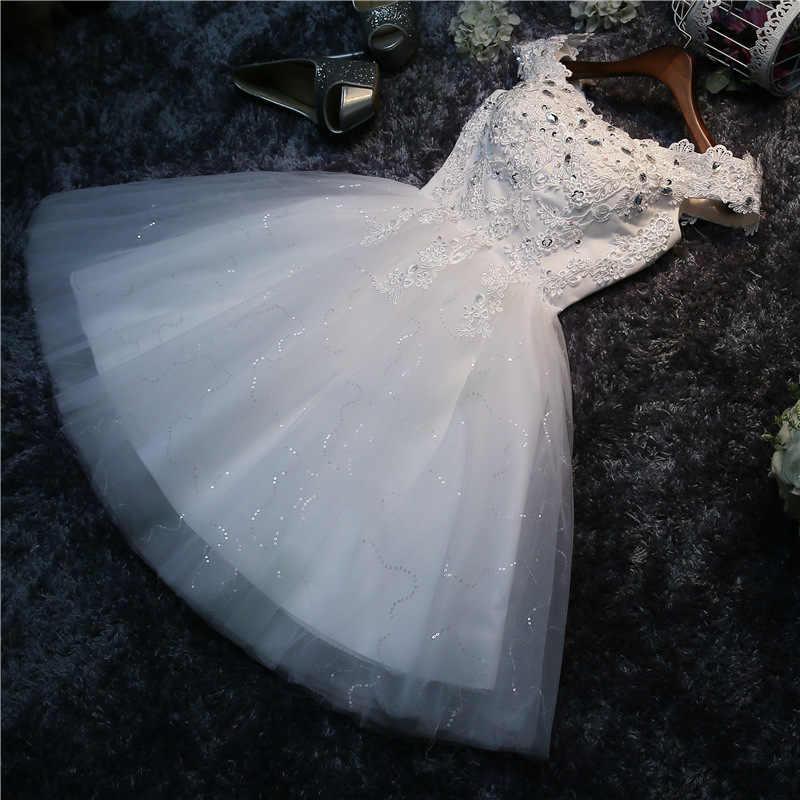 את כתף קצר תחרה שמלת כלה לחתונה 2019 לבן/אדום חרוזים חתונה כלה שמלת Casamento Vestidos קיץ חוף