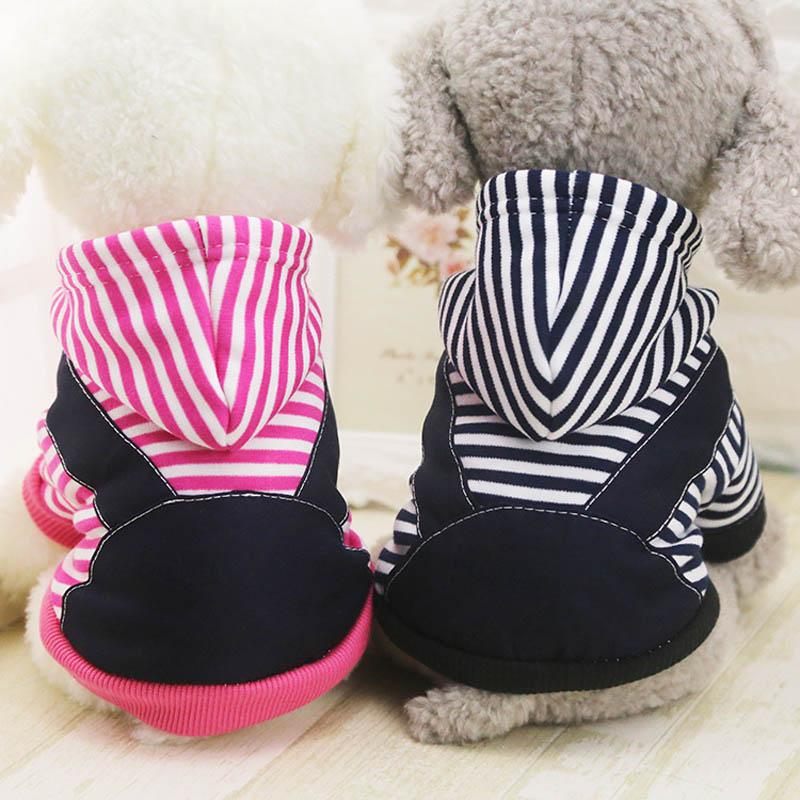 Fashion Pet Dog Yorkshire Terrier Clothes Winter New Warm Dogs Costume Cute Stripe Puppy Hoodie Coat Clothing For Small Dogs 00E