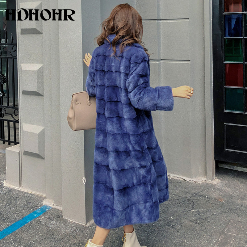 HDHOHR 2019 Real Whole Mink Fur X-Long Coat Factory Direct Sale Winter Slim Warm Female Mink Fur Long Turn-down Collar Jacket