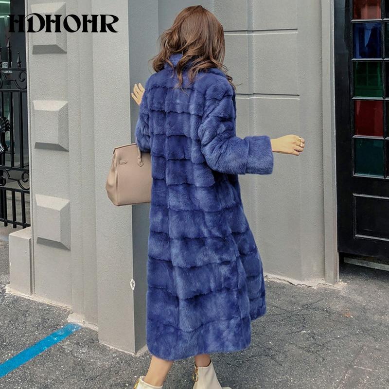 HDHOHR 2019 réel entier vison fourrure x-long manteau usine vente directe hiver mince chaud femelle vison fourrure Long col rabattu veste