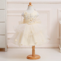 Wholesale Cute Voile Bow 2018 New Flower Girl Dresses For Kids Evening Party Dresses Wedding Dress Free DHL T082