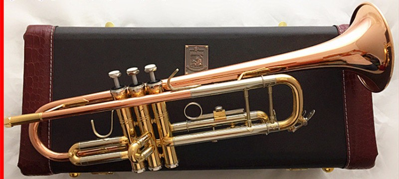 High quality free shipping copper trumpet Bach trumpet rose drop b musical instruments tune LR-197GS free shipping 2017 new us baja trumpet instrument lt190s 99 down b tune instrument