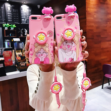 Sailor Moon Cute Pink Silicone Phone Case With Lanyard For iphone 7 8 6s TPU Soft Cover Xs XR Mobile