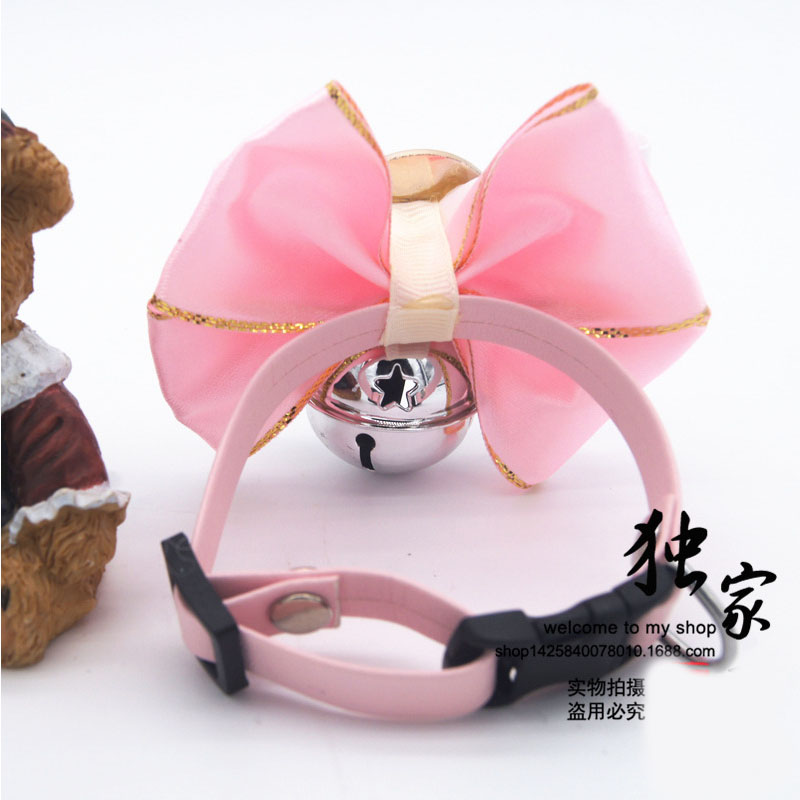 Pink Small big dog Bow tie collar dog pet cat luxury Princess bell collar pitbull golden retriever dog collar necklace pendant