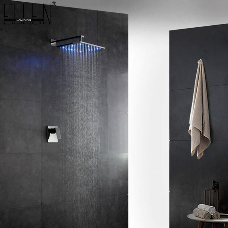 LED Bath In Wall Shower Faucets Chrome Wall Mount Bathroom Faucet Set Rainfall Square Shower Head
