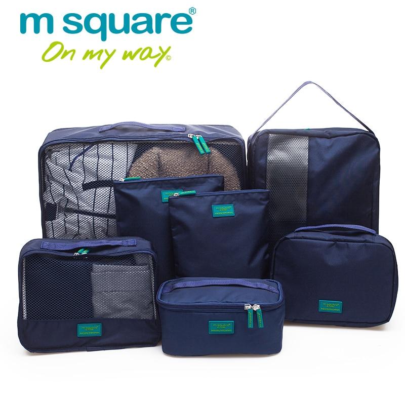 М площад 7бр Комплект Мъжки Пътна Чанта Жени Опаковка Кубове Съхранение Duffel Чанти Организатор на Калъфи Случаен За Дрехи Duffle Organizador  t