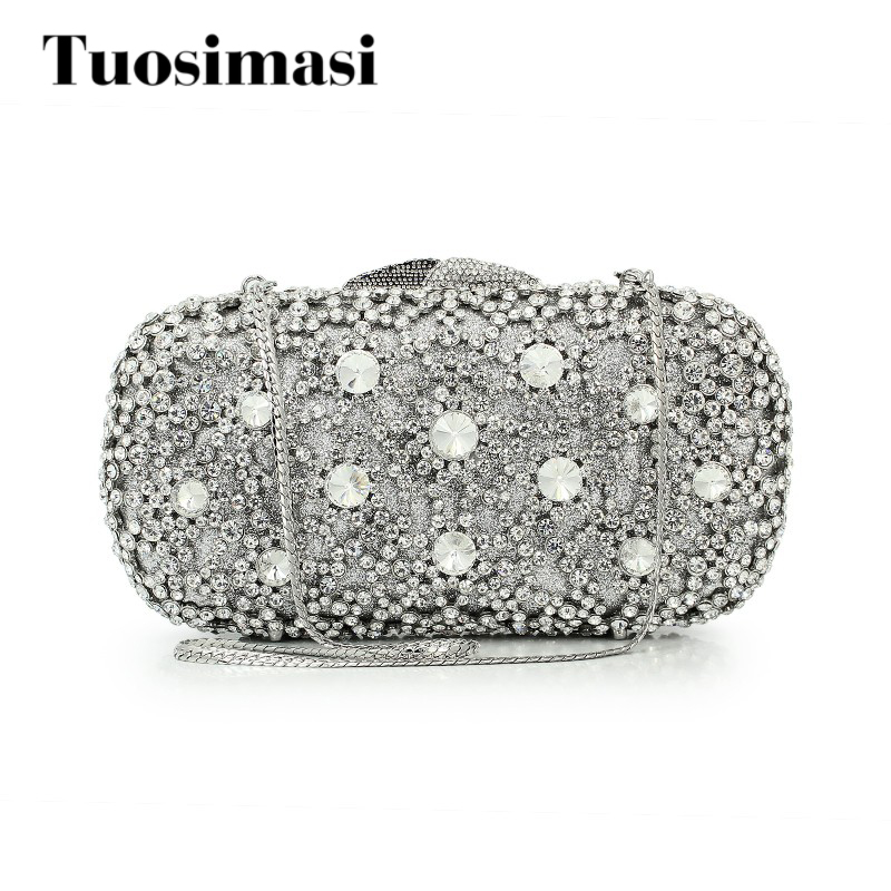 Sliver crystal purse with chain flower hard clutch evening bag clutch bag (8646A-S) with logo sliver