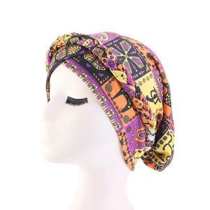 Image 5 - נשים כובע סרטן כימותרפיה כובע אתני מודפס מוסלמיים כפה צמת ראש טורבן צעיף כיסוי שיער אובדן ערבי מצנפת אופנה